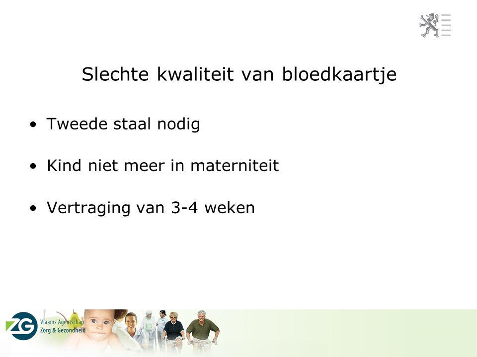 Slechte kwaliteit van bloedkaartje Tweede staal nodig Kind niet meer in materniteit Vertraging van 3-4 weken