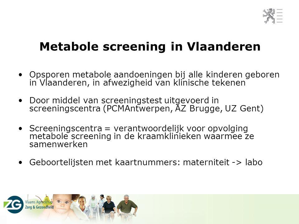 Metabole screening in Vlaanderen Opsporen metabole aandoeningen bij alle kinderen geboren in Vlaanderen, in afwezigheid van klinische tekenen Door mid