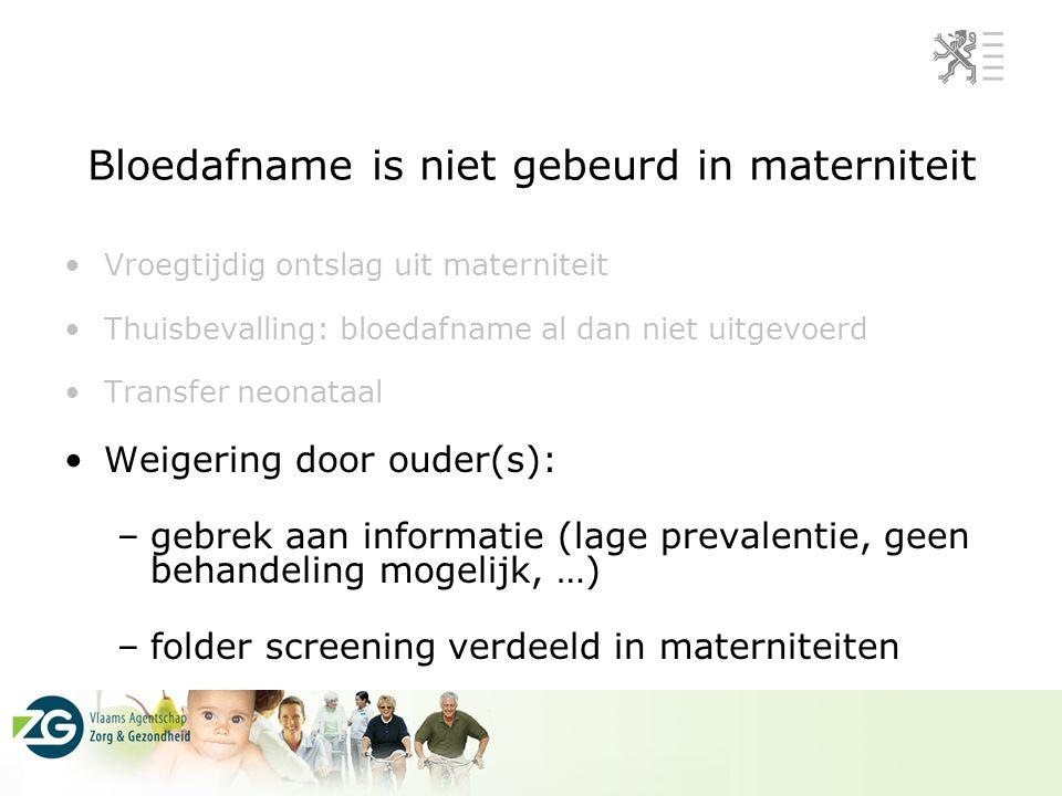 Bloedafname is niet gebeurd in materniteit Vroegtijdig ontslag uit materniteit Thuisbevalling: bloedafname al dan niet uitgevoerd Transfer neonataal W
