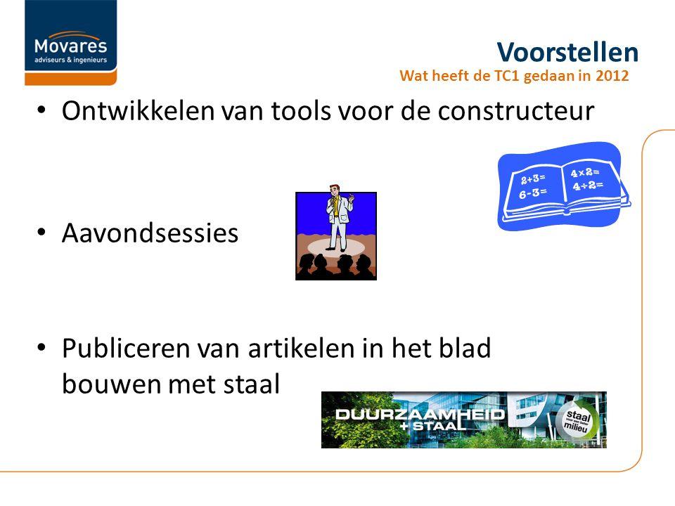 Voorstellen Ontwikkelen van tools voor de constructeur Aavondsessies Publiceren van artikelen in het blad bouwen met staal Wat heeft de TC1 gedaan in 2012