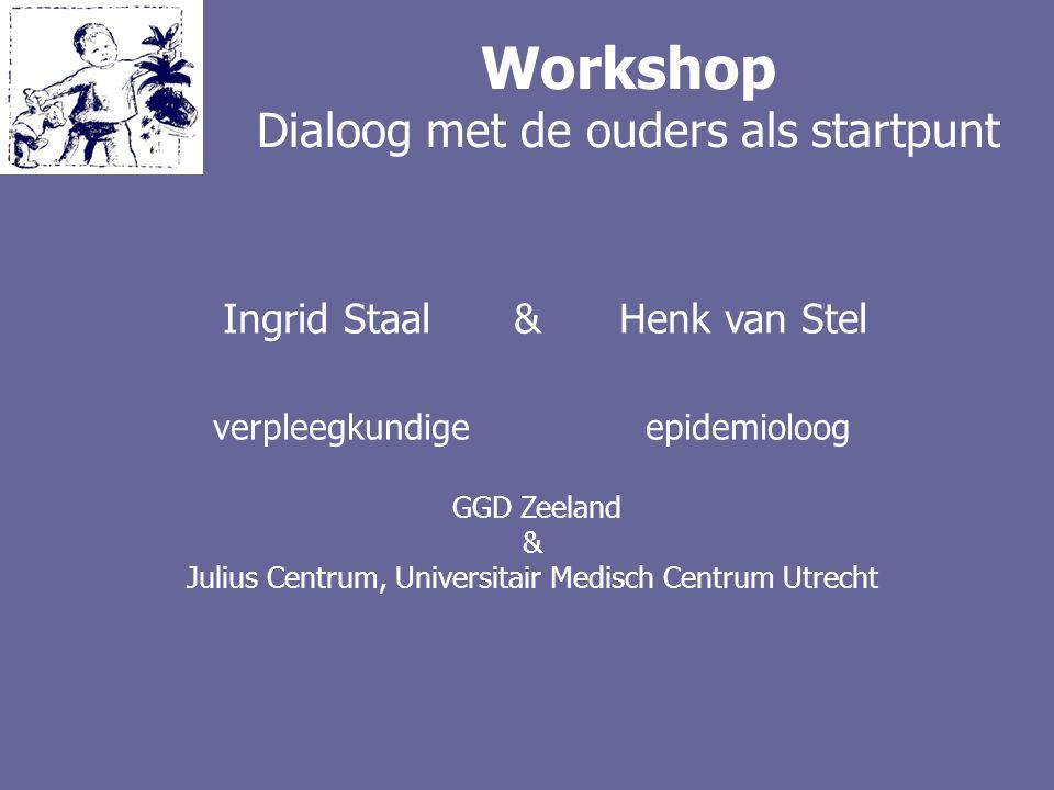 Workshop Dialoog met de ouders als startpunt Ingrid Staal & Henk van Stel verpleegkundige epidemioloog GGD Zeeland & Julius Centrum, Universitair Medi