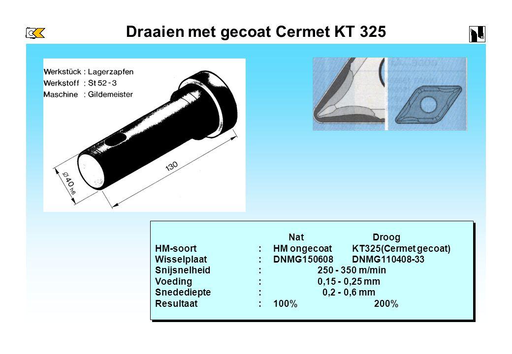 Draaien van gietijzer Snijsnelheid v c : 400 - 1000 m/min Voeding f : 0.3 - 0.6 mm/U Onderbroken snede is mogelijk Zowel nat als droog inzetbaar Inzet