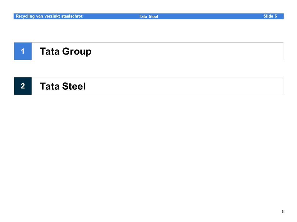 Slide Tata Steel 6Recycling van verzinkt staalschrot 6 Tata Steel Tata Group 1 2