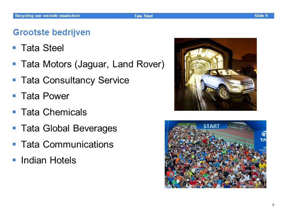 Slide Tata Steel 9Recycling van verzinkt staalschrot 9 Grootste bedrijven  Tata Steel  Tata Motors (Jaguar, Land Rover)  Tata Consultancy Service 