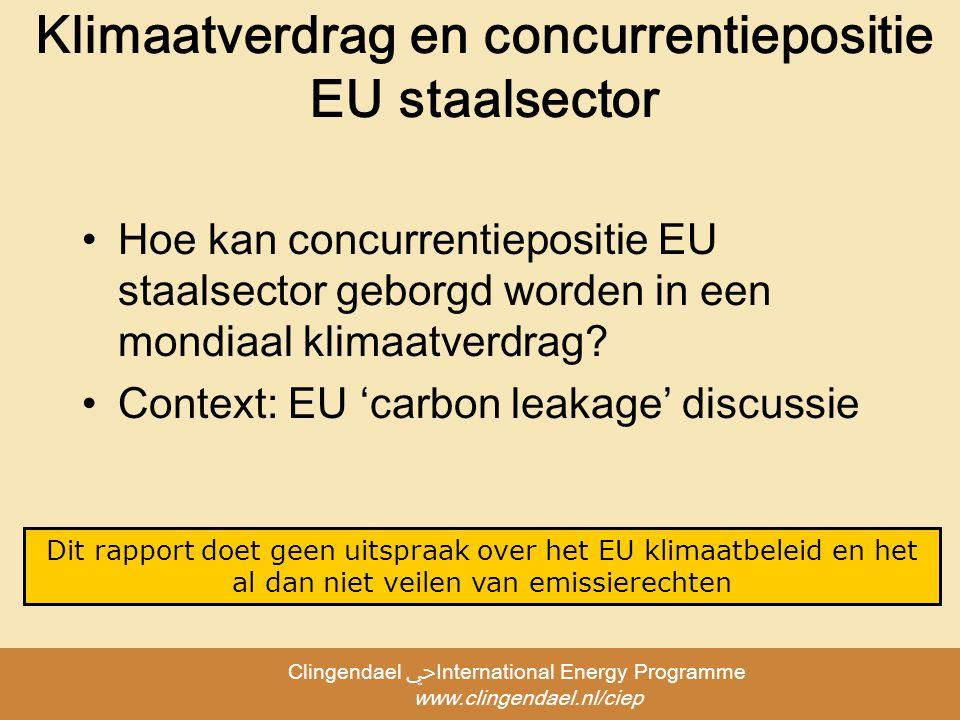Clingendael ﴀInternational Energy Programme www.clingendael.nl/ciep Klimaatverdrag en concurrentiepositie EU staalsector Hoe kan concurrentiepositie EU staalsector geborgd worden in een mondiaal klimaatverdrag.