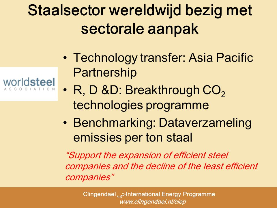 Clingendael ﴀInternational Energy Programme   Staalsector wereldwijd bezig met sectorale aanpak Technology transfer: Asia Pacific Partnership R, D &D: Breakthrough CO 2 technologies programme Benchmarking: Dataverzameling emissies per ton staal Support the expansion of efficient steel companies and the decline of the least efficient companies