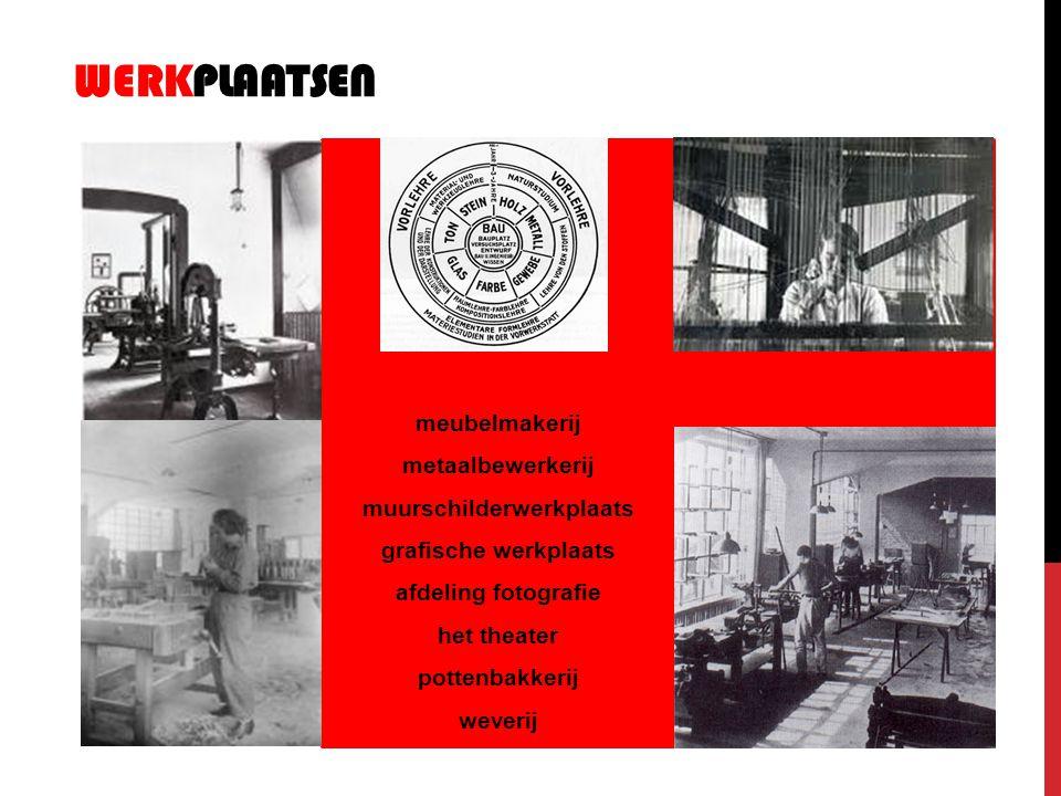 WERKPLAATSEN meubelmakerij metaalbewerkerij muurschilderwerkplaats grafische werkplaats afdeling fotografie het theater pottenbakkerij weverij