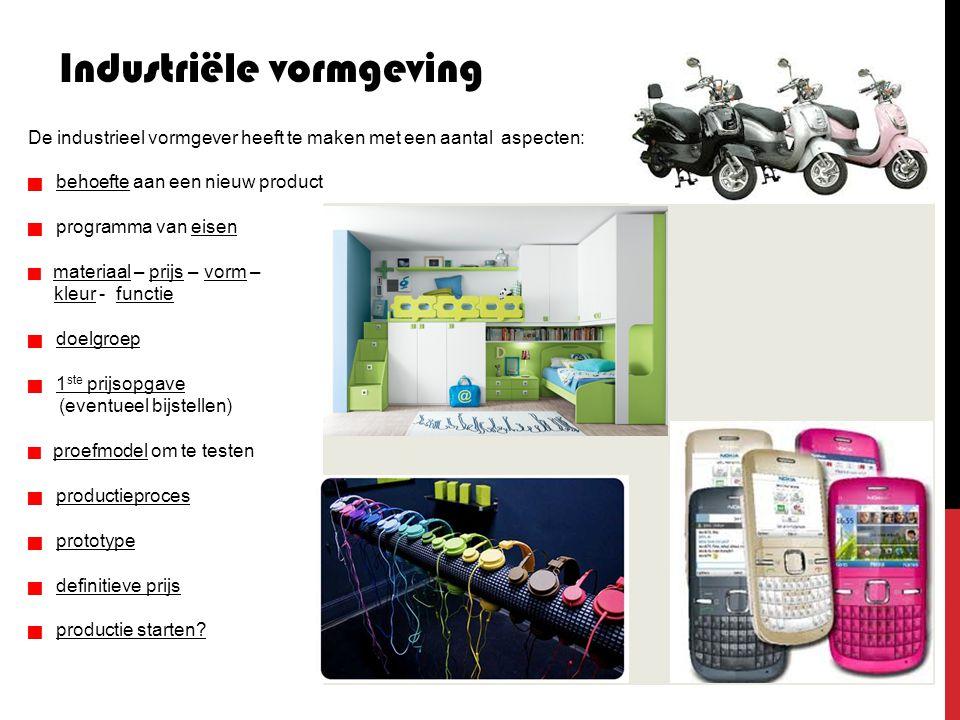 Industriële vormgeving De industrieel vormgever heeft te maken met een aantal aspecten:  behoefte aan een nieuw product  programma van eisen 