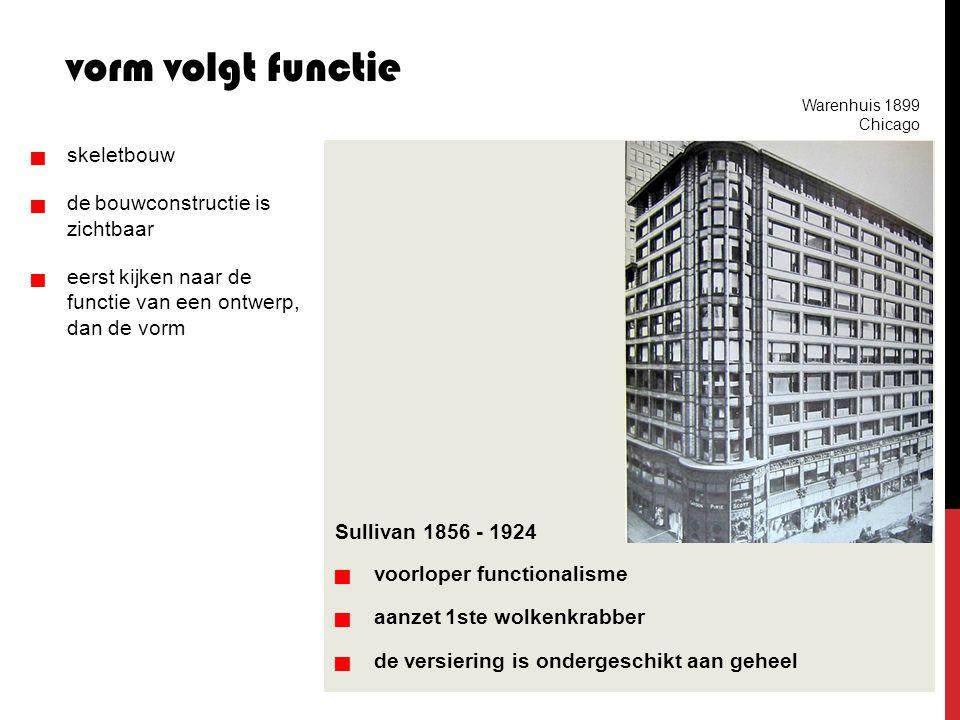 Sullivan 1856 - 1924   voorloper functionalisme   aanzet 1ste wolkenkrabber   de versiering is ondergeschikt aan geheel vorm volgt functie 