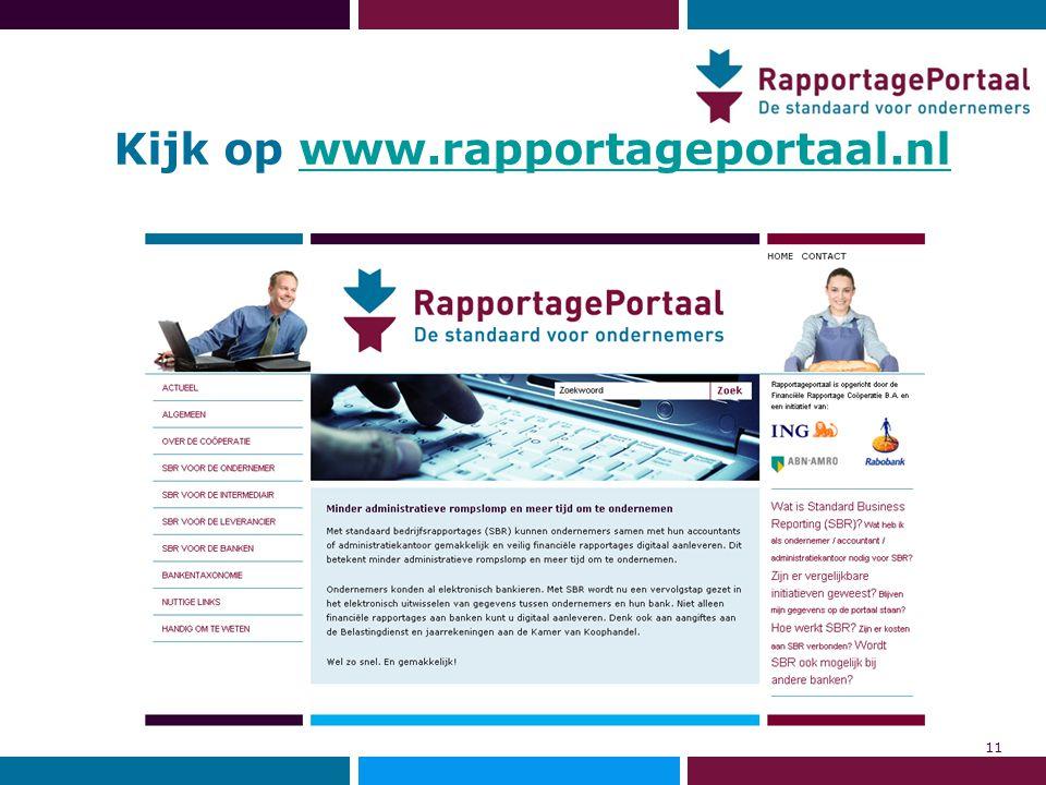 Kijk op www.rapportageportaal.nlwww.rapportageportaal.nl 11