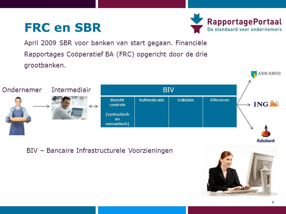 FRC en SBR April 2009 SBR voor banken van start gegaan. Financiële Rapportages Coöperatief BA (FRC) opgericht door de drie grootbanken. 4 BIV Bericht