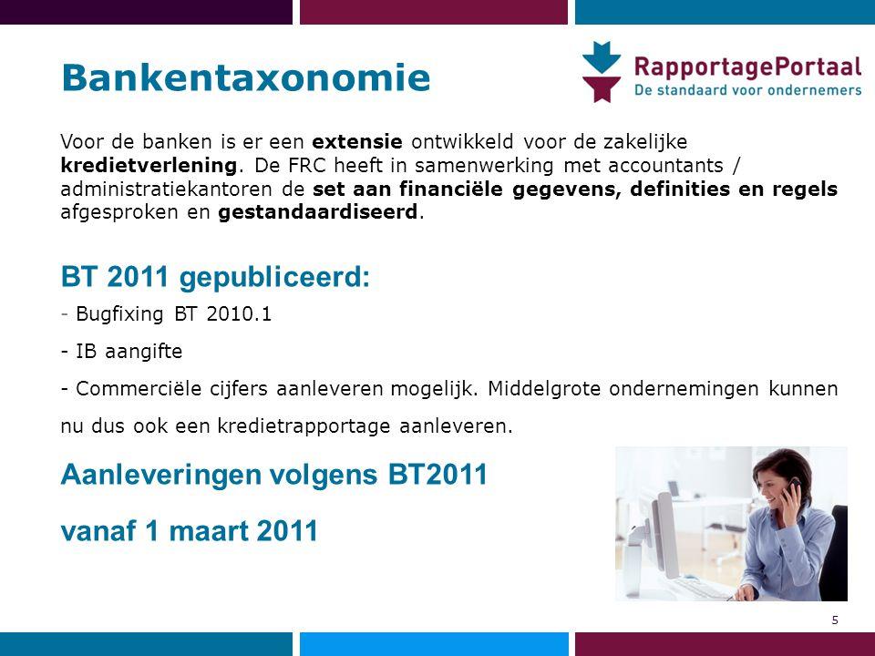 Bankentaxonomie Voor de banken is er een extensie ontwikkeld voor de zakelijke kredietverlening. De FRC heeft in samenwerking met accountants / admini