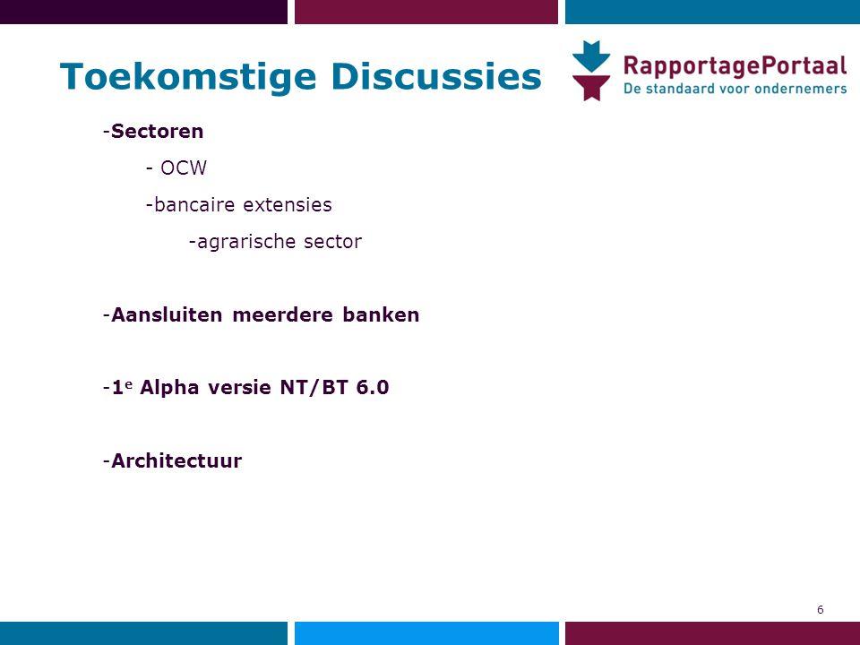 Toekomstige Discussies 6 -Sectoren - OCW -bancaire extensies -agrarische sector -Aansluiten meerdere banken -1 e Alpha versie NT/BT 6.0 -Architectuur