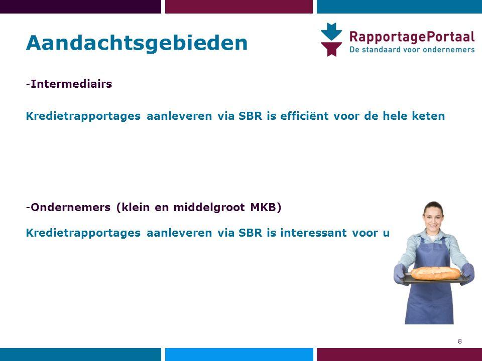 Aandachtsgebieden -Intermediairs Kredietrapportages aanleveren via SBR is efficiënt voor de hele keten -Ondernemers (klein en middelgroot MKB) Krediet