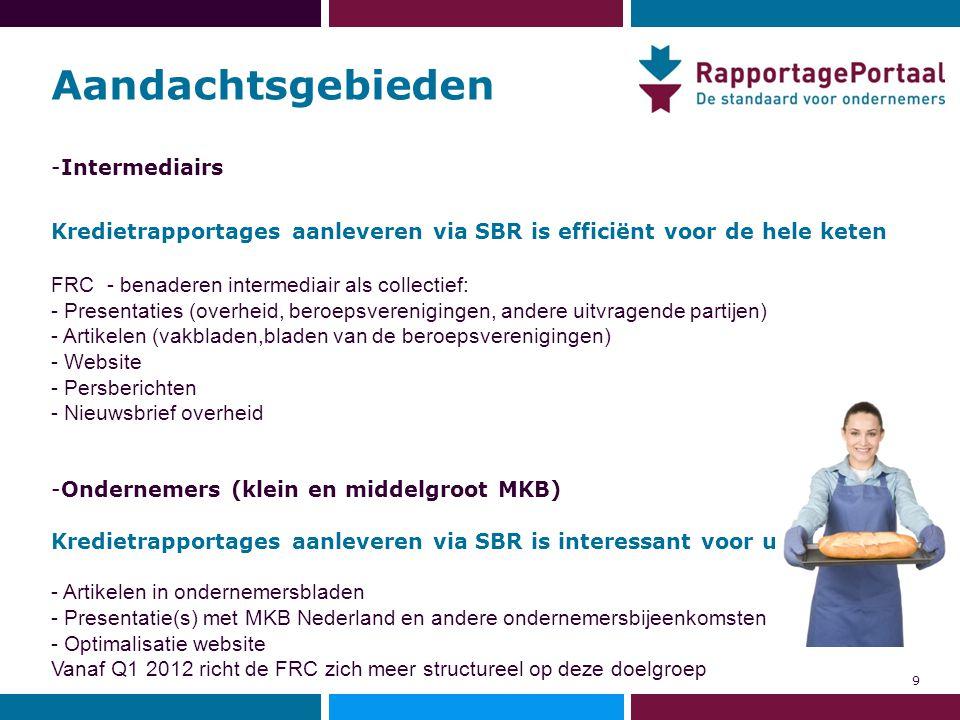 Aandachtsgebieden -Intermediairs Kredietrapportages aanleveren via SBR is efficiënt voor de hele keten FRC - benaderen intermediair als collectief: -