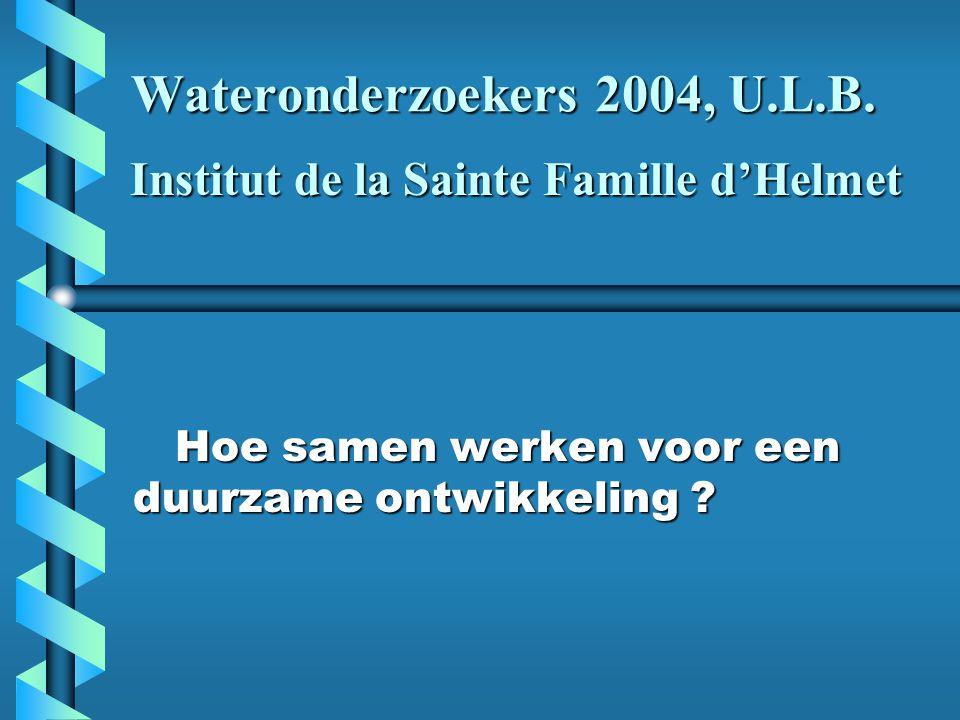 Wateronderzoekers 2004, U.L.B. Hoe samen werken voor een duurzame ontwikkeling .