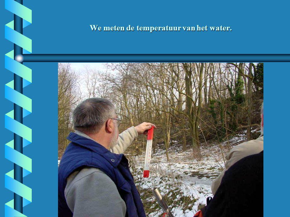 We meten de temperatuur van het water.