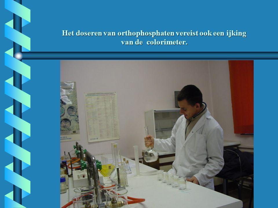 Het doseren van orthophosphaten vereist ook een ijking van de colorimeter.