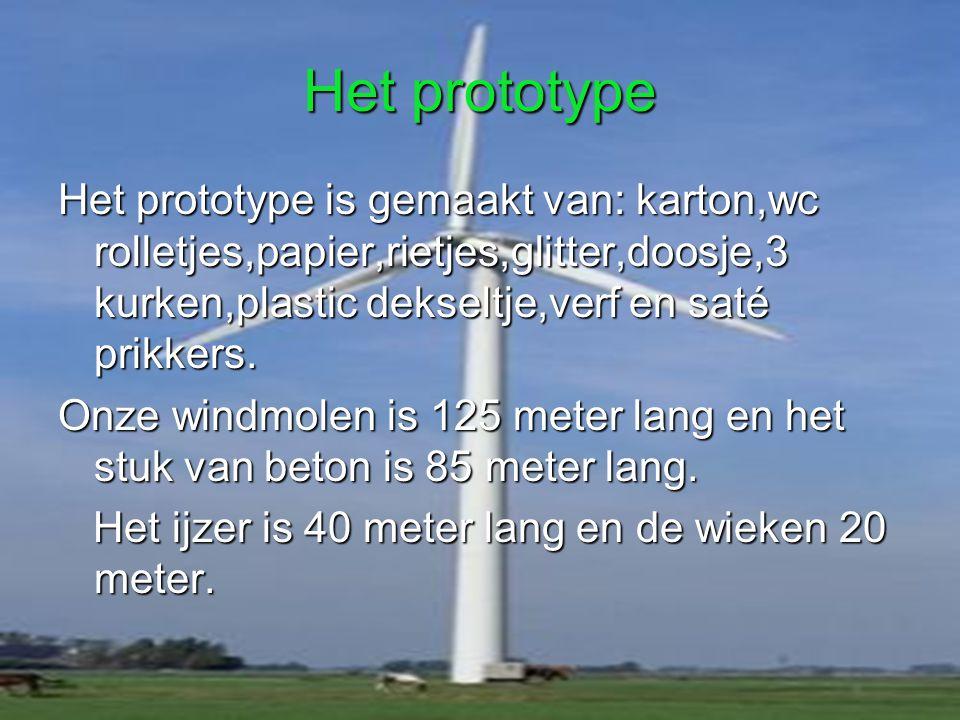 Onze windmolen word gemaakt van? Onze windmolen is gemaakt van ijzer,staal en beton. Op het beton staan er vier kantjes met de kleuren blauw en paars.