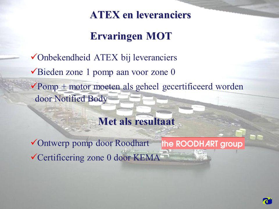 Onbekendheid ATEX bij leveranciers Bieden zone 1 pomp aan voor zone 0 Pomp + motor moeten als geheel gecertificeerd worden door Notified Body Ontwerp pomp door Roodhart Certificering zone 0 door KEMA ATEX en leveranciers Ervaringen MOT Met als resultaat