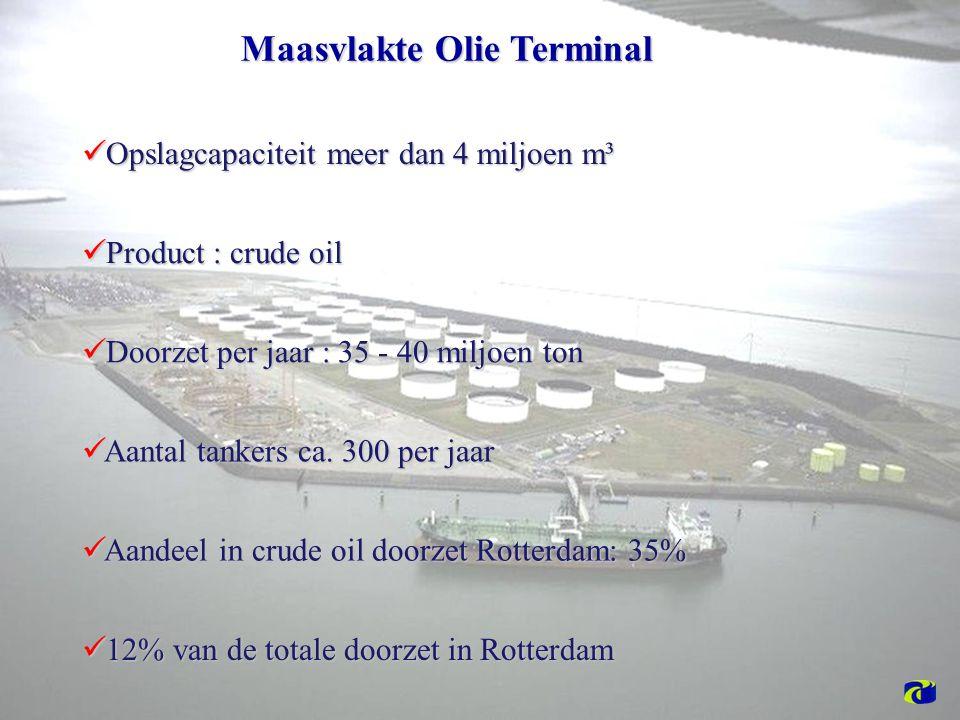 Maasvlakte Olie Terminal Opslagcapaciteit meer dan 4 miljoen m³ Opslagcapaciteit meer dan 4 miljoen m³ Product : crude oil Product : crude oil Aantal tankers ca.