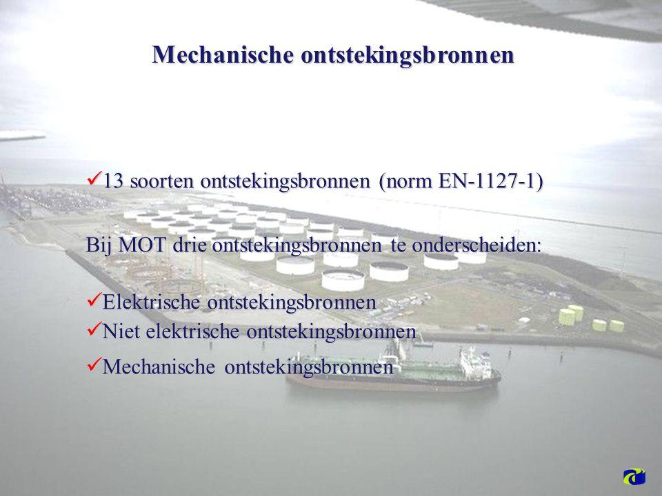 13 soorten ontstekingsbronnen (norm EN-1127-1) 13 soorten ontstekingsbronnen (norm EN-1127-1) Bij MOT drie ontstekingsbronnen te onderscheiden: Elektrische ontstekingsbronnen Elektrische ontstekingsbronnen Niet elektrische ontstekingsbronnen Niet elektrische ontstekingsbronnen Mechanische ontstekingsbronnen Mechanische ontstekingsbronnen Mechanische ontstekingsbronnen