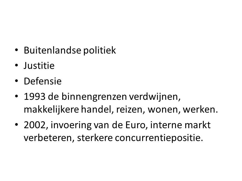 Buitenlandse politiek Justitie Defensie 1993 de binnengrenzen verdwijnen, makkelijkere handel, reizen, wonen, werken.
