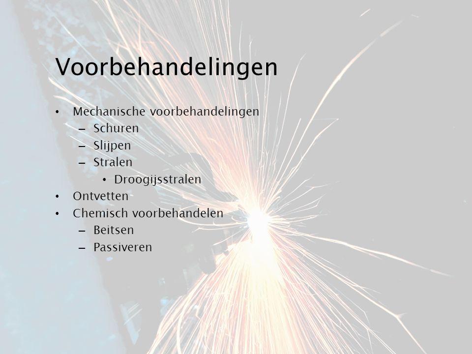 Voorbehandelingen Mechanische voorbehandelingen – Schuren – Slijpen – Stralen Droogijsstralen Ontvetten Chemisch voorbehandelen – Beitsen – Passiveren