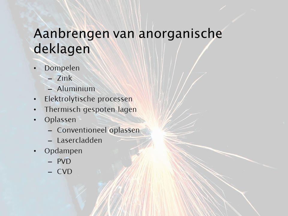 Aanbrengen van anorganische deklagen Dompelen – Zink – Aluminium Elektrolytische processen Thermisch gespoten lagen Oplassen – Conventioneel oplassen – Lasercladden Opdampen – PVD – CVD