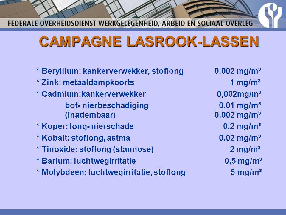 CAMPAGNE LASROOK-LASSEN * Beryllium: kankerverwekker, stoflong 0.002 mg/m³ * Zink: metaaldampkoorts 1 mg/m³ * Cadmium:kankerverwekker 0,002mg/m³ bot-