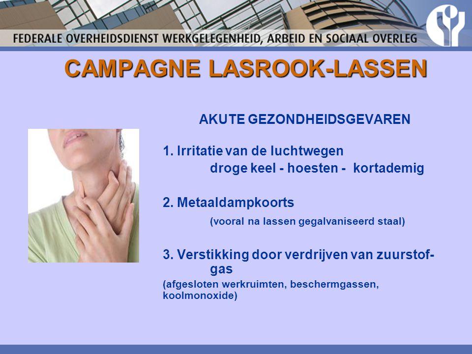 CAMPAGNE LASROOK-LASSEN AKUTE GEZONDHEIDSGEVAREN 1. Irritatie van de luchtwegen droge keel - hoesten - kortademig 2. Metaaldampkoorts (vooral na lasse