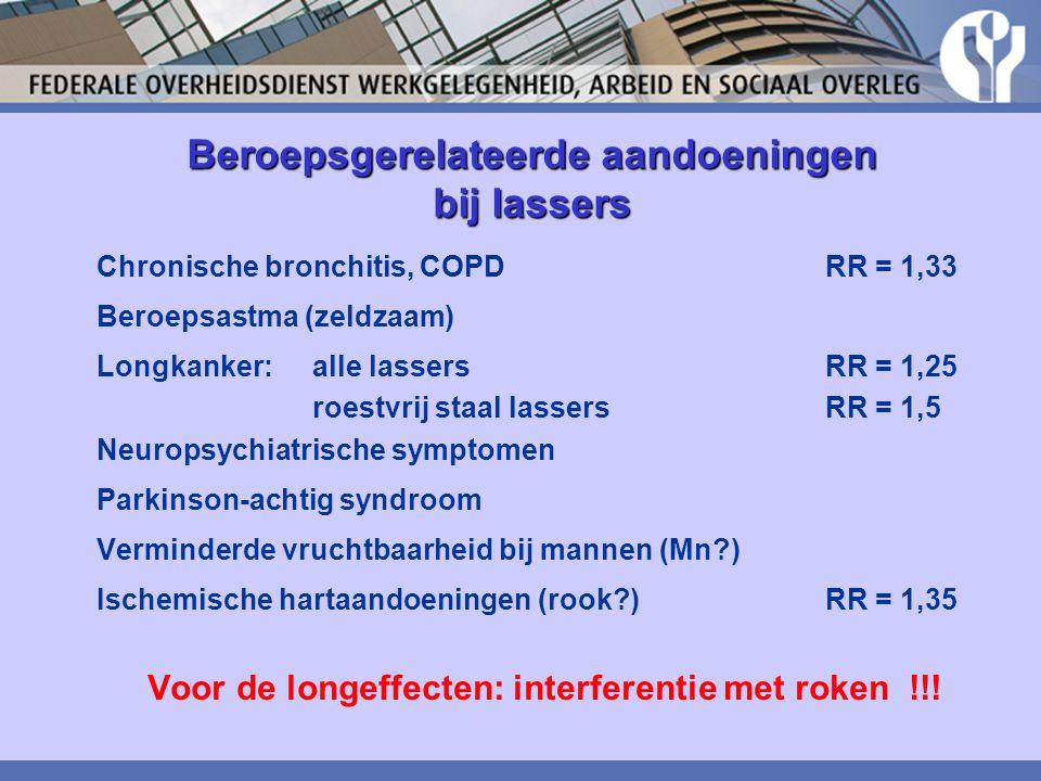 Beroepsgerelateerde aandoeningen bij lassers Chronische bronchitis, COPD RR = 1,33 Beroepsastma (zeldzaam) Longkanker: alle lassers RR = 1,25 roestvri