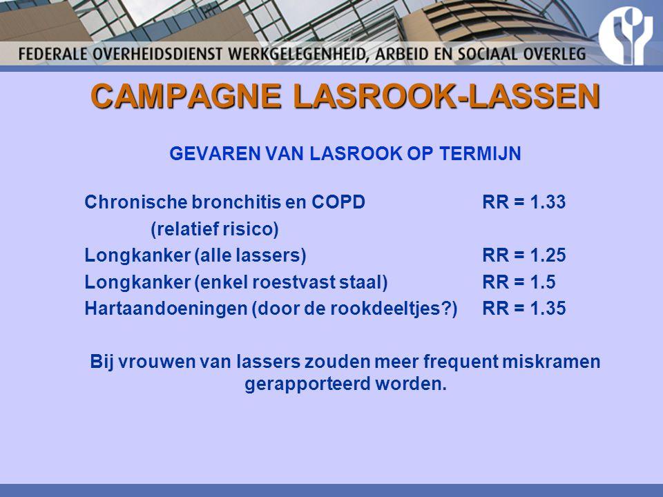 CAMPAGNE LASROOK-LASSEN GEVAREN VAN LASROOK OP TERMIJN Chronische bronchitis en COPDRR = 1.33 (relatief risico) Longkanker (alle lassers) RR = 1.25 Lo