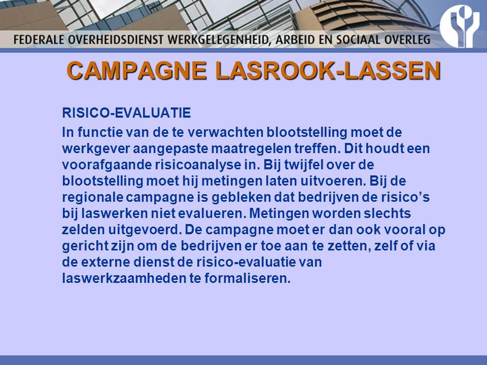 CAMPAGNE LASROOK-LASSEN RISICO-EVALUATIE In functie van de te verwachten blootstelling moet de werkgever aangepaste maatregelen treffen. Dit houdt een