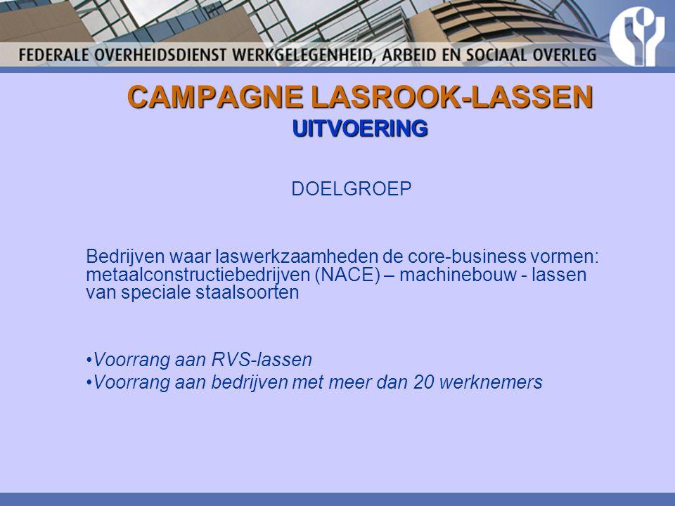 CAMPAGNE LASROOK-LASSEN UITVOERING DOELGROEP Bedrijven waar laswerkzaamheden de core-business vormen: metaalconstructiebedrijven (NACE) – machinebouw
