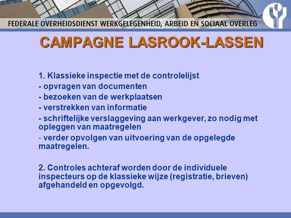 CAMPAGNE LASROOK-LASSEN 1. Klassieke inspectie met de controlelijst - opvragen van documenten - bezoeken van de werkplaatsen - verstrekken van informa