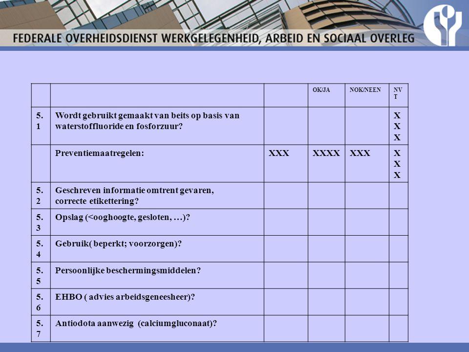 OK/JANOK/NEENNV T 5. 1 Wordt gebruikt gemaakt van beits op basis van waterstoffluoride en fosforzuur? XXXXXX Preventiemaatregelen:XXXXXXXXXXXXXXXX 5.