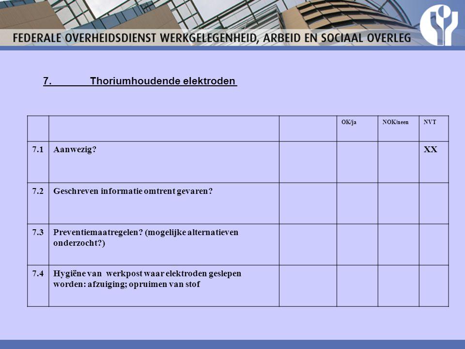7.Thoriumhoudende elektroden OK/jaNOK/neenNVT 7.1Aanwezig?XX 7.2Geschreven informatie omtrent gevaren? 7.3Preventiemaatregelen? (mogelijke alternatiev