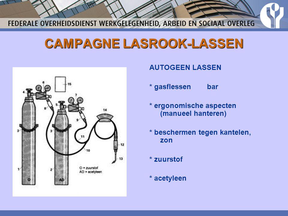 CAMPAGNE LASROOK-LASSEN AUTOGEEN LASSEN * gasflessen bar * ergonomische aspecten (manueel hanteren) * beschermen tegen kantelen, zon * zuurstof * acet