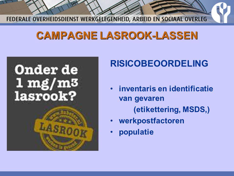 CAMPAGNE LASROOK-LASSEN RISICOBEOORDELING inventaris en identificatie van gevaren (etikettering, MSDS,) werkpostfactoren populatie