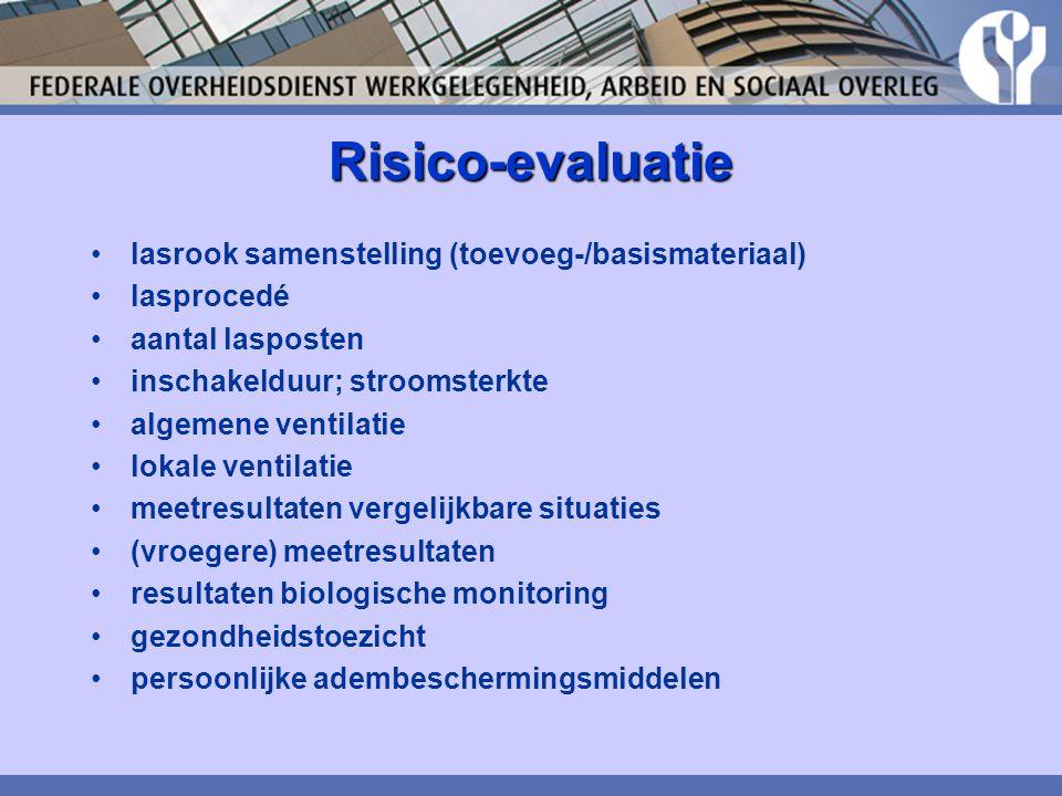 Risico-evaluatie lasrook samenstelling (toevoeg-/basismateriaal) lasprocedé aantal lasposten inschakelduur; stroomsterkte algemene ventilatie lokale v