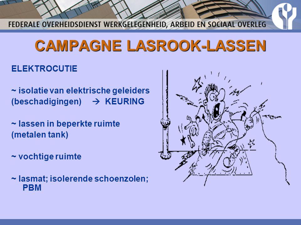 CAMPAGNE LASROOK-LASSEN ELEKTROCUTIE ~ isolatie van elektrische geleiders (beschadigingen)  KEURING ~ lassen in beperkte ruimte (metalen tank) ~ voch