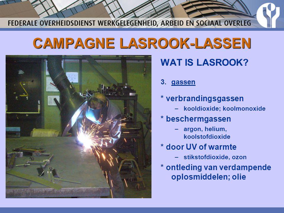 CAMPAGNE LASROOK-LASSEN De grenswaarde voor lasrook bedraagt 5 mg/m³ inhaleerbare fractie (in Nederland: 1 mg/m³).