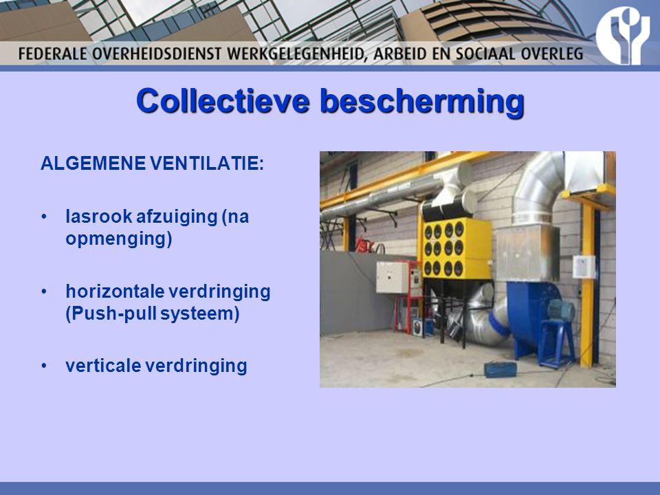 Collectieve bescherming ALGEMENE VENTILATIE: lasrook afzuiging (na opmenging) horizontale verdringing (Push-pull systeem) verticale verdringing