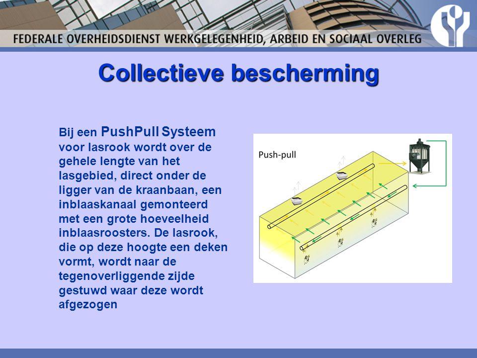 Collectieve bescherming Bij een PushPull Systeem voor lasrook wordt over de gehele lengte van het lasgebied, direct onder de ligger van de kraanbaan,