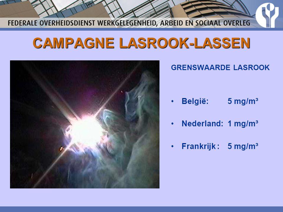 CAMPAGNE LASROOK-LASSEN GRENSWAARDE LASROOK België: 5 mg/m³ Nederland: 1 mg/m³ Frankrijk : 5 mg/m³