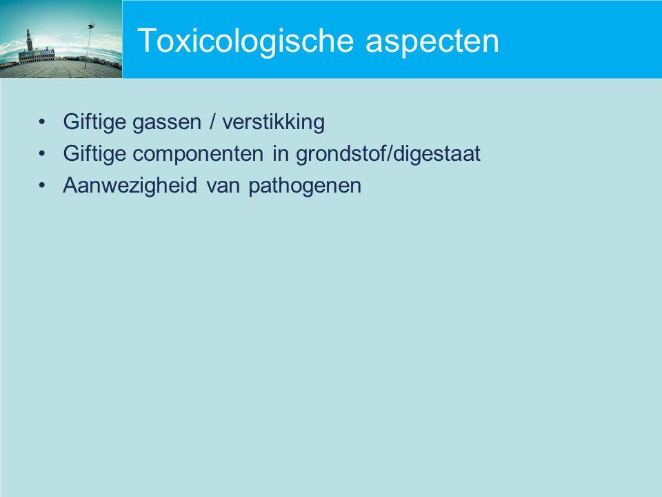 Toxicologische aspecten Giftige gassen / verstikking Giftige componenten in grondstof/digestaat Aanwezigheid van pathogenen