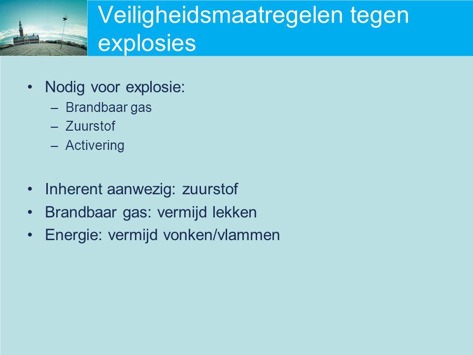 Veiligheidsmaatregelen tegen explosies Nodig voor explosie: –Brandbaar gas –Zuurstof –Activering Inherent aanwezig: zuurstof Brandbaar gas: vermijd le