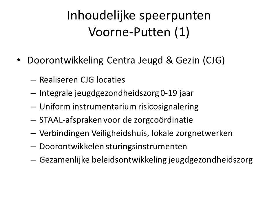 Inhoudelijke speerpunten Voorne-Putten (1) Doorontwikkeling Centra Jeugd & Gezin (CJG) – Realiseren CJG locaties – Integrale jeugdgezondheidszorg 0-19 jaar – Uniform instrumentarium risicosignalering – STAAL-afspraken voor de zorgcoördinatie – Verbindingen Veiligheidshuis, lokale zorgnetwerken – Doorontwikkelen sturingsinstrumenten – Gezamenlijke beleidsontwikkeling jeugdgezondheidszorg