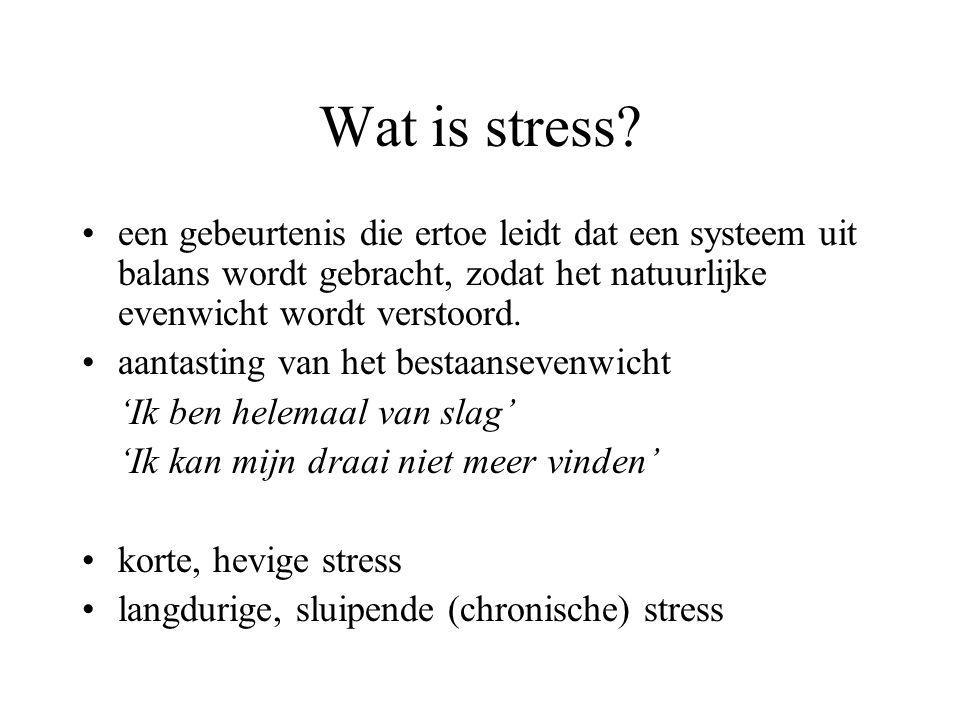 Hippocampus remt afgifte centrale stresshormoon - zorgt voor herstel evenwicht tussen stress en rust - stressreactie blijft binnen de perken te lange aanwezigheid stresshormoon cortisol - beschadigt hippocampus en wordt overgevoelig voor stress - geen vorming van nieuwe cellen